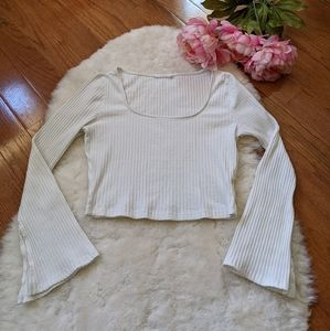 Nordstrom lush ribbed 90s flared sleeve crop top